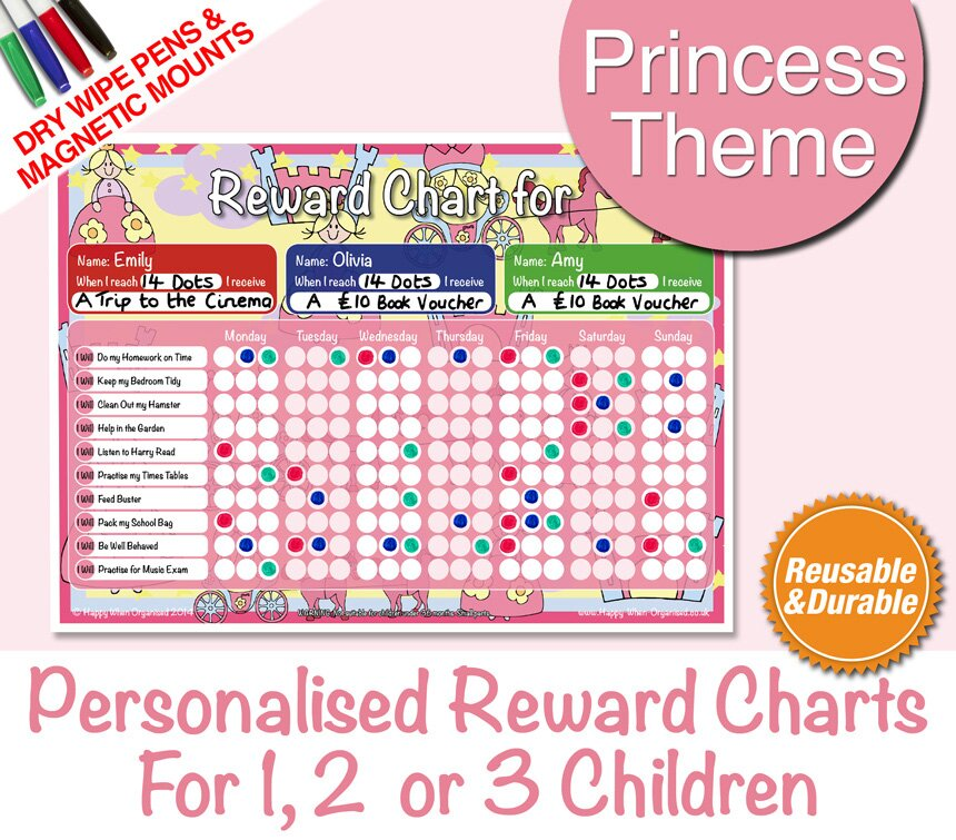 PersonalisedPrincessChildsRewardBehaviourChartsChildrens