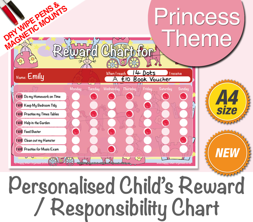 a4behaviourkidsresponsibilityrewardchartprincess